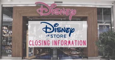 disney store closing information
