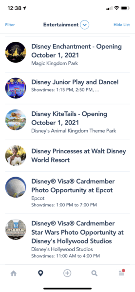 my disney experience showtimes