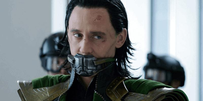 tom hiddleston as loki wearing muzzle in avengers
