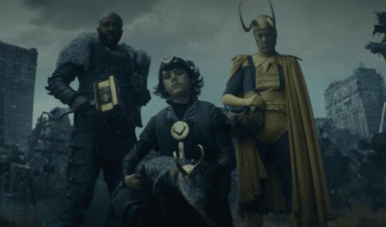 (Left) Deobia Oparei as Boastful Loki, (Center) Jack Veal as Kid Loki (Right) Richard E. Grant as Classic Loki