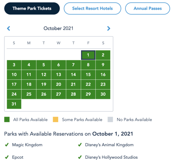 WDW October Reservations
