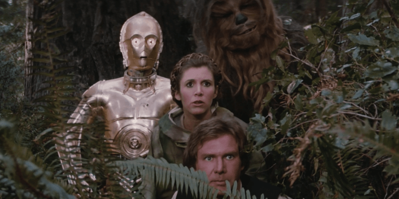 return of the jedi with C-3PO, Leia, and Han Solo