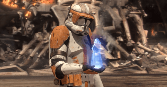 Commander Cody receiving Order 66 from Chancellor Palpatine