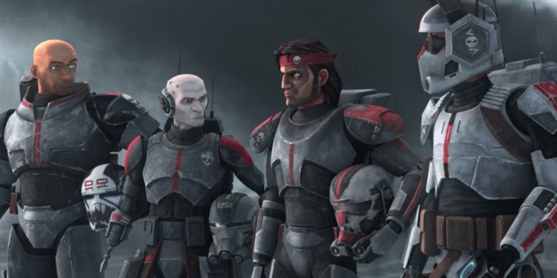 Clone Force 99 members Tech, Echo, Hunter and Wrecker (left to right)