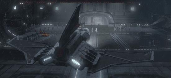 Omnicron shuttle landing in a hangar in 'The Bad Batch'
