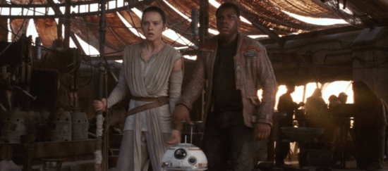 Rey (left) Finn (right) and BB-8 (middle)
