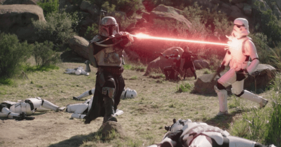 Boba Fett shooting a stormtrooper