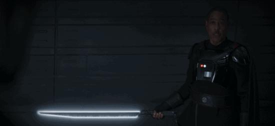 Moff Gideon holding the Darksaber