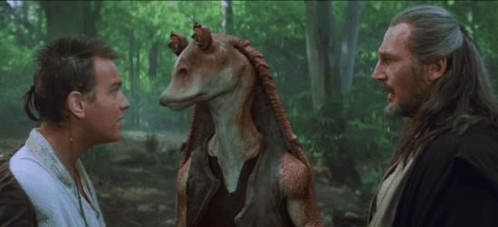 (L-R) Obi-Wan Kenobi, Jar Jar Binks, Qui-Gon Jinn talking