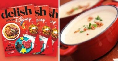 delish disney cookbook (left) epcot soup (right)