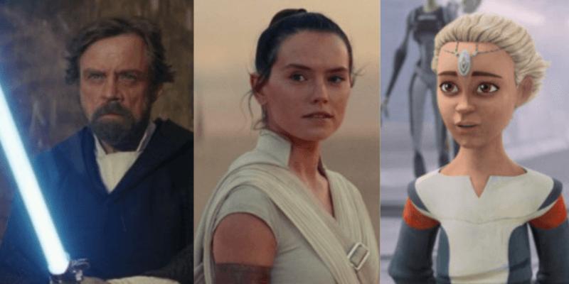 Luke Skywalker holding lightsaber (left), Rey (middle), Omega (right)