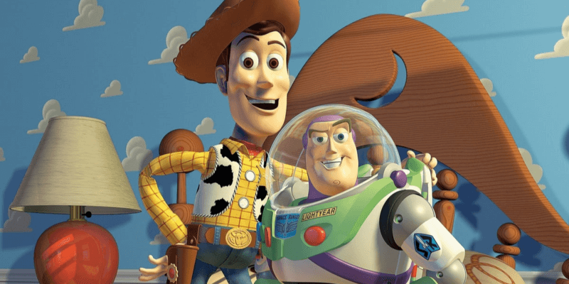 Sheriff Woody (Tom Hanks) left and Buzz Lightyear (Tim Allen) right