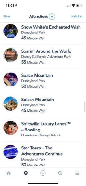 Disneyland Resort Wait Times