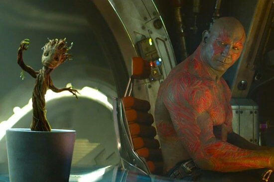 left, baby groot, right, drax