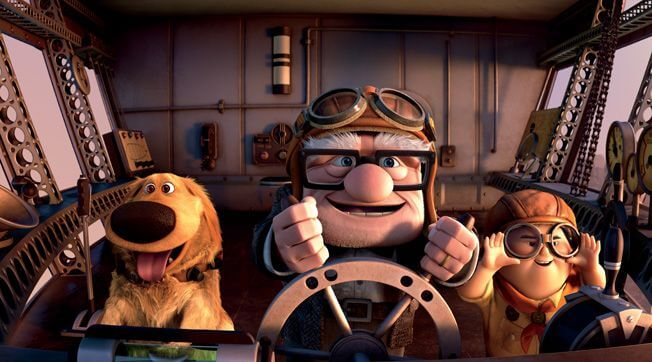 carl flying the spirit of adventure in pixar's up