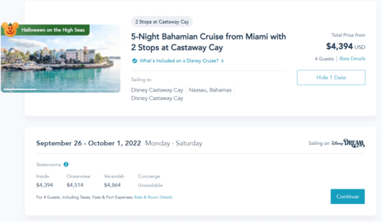 disney cruise 2022 prices castaway cay