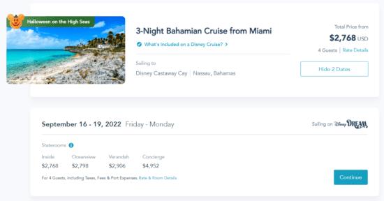 disney cruise 2022 prices miami