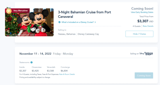 disney cruise 2022 prices port canaveral