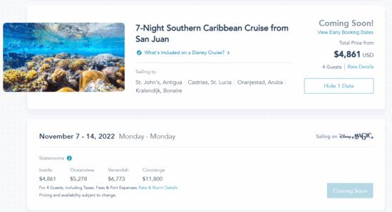 disney cruise 2022 prices seven nights