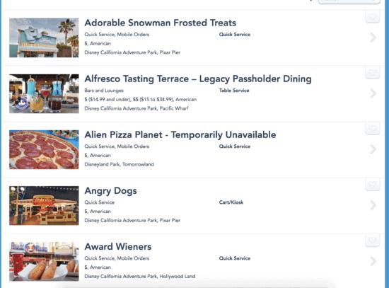 disneyland restaurant list