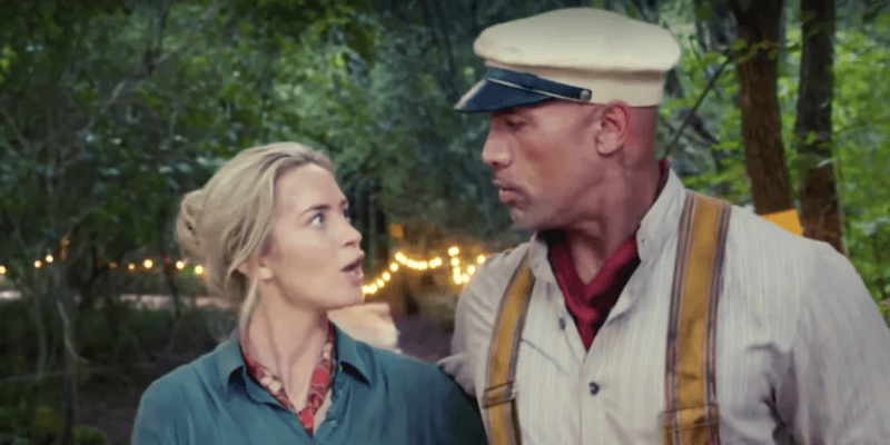 emily blunt (left) and dwayne johnson (right) on jungle cruise set