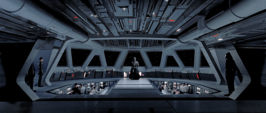 executor bridge with darth vader standing