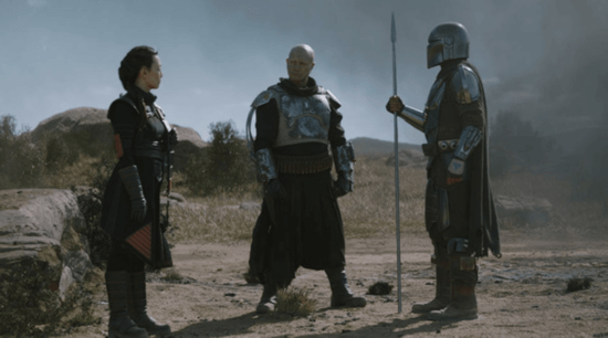 (l-r) fennec shand, boba fett, and din djarin in the mandalorian chapter 14
