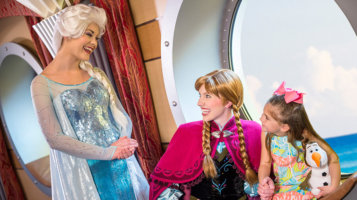 disney cruise line elsa and anna with little girl