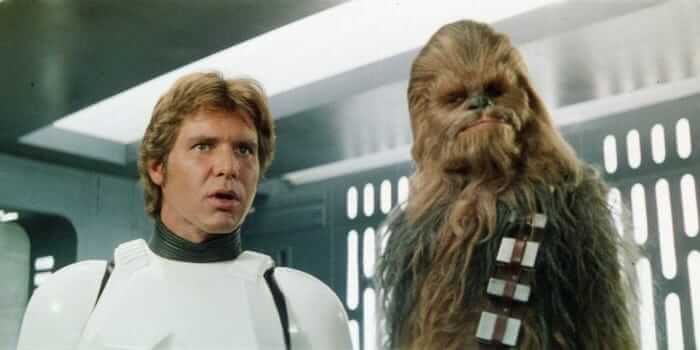 han solo (left) and chewbacca (right) in a new hope