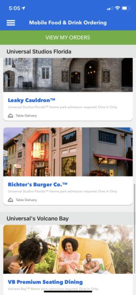 Mobile Ordering at Universal Orlando Resort
