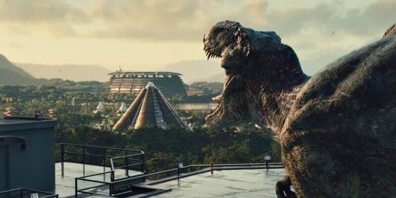 jurassic world end scene t-rex roar