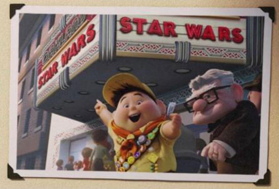kevin and russell at star wars movie