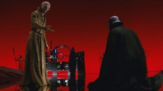 kylo ren kneeling before snoke