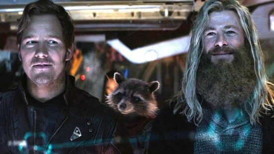 left peter quill, right thor