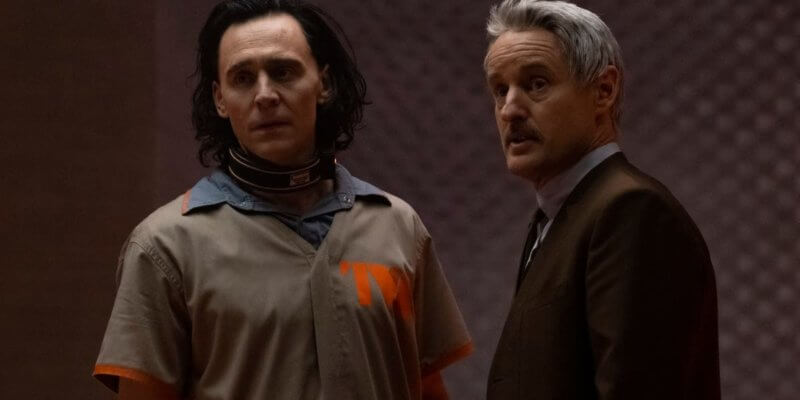 Tom Hiddleston as Loki (left) and Owen Wilson as Agent Mobius (right)