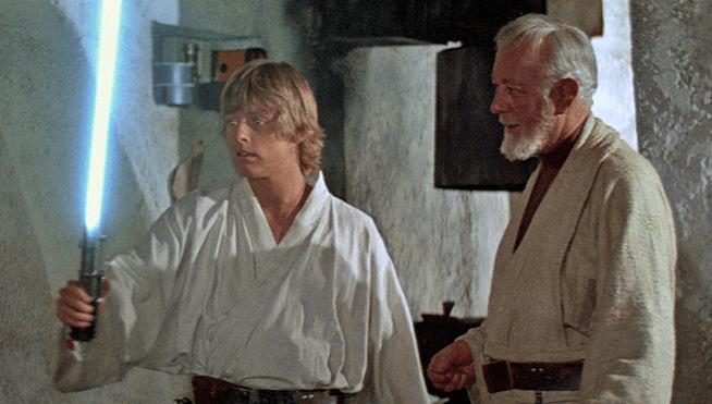 luke and obi-wan with lightsaber