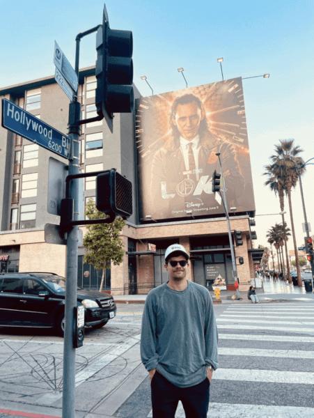 michael waldron with loki billboard