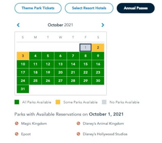 Theme Park Reservations for October 1