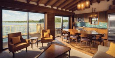 overwater bungalow interior at disney's polynesian resort