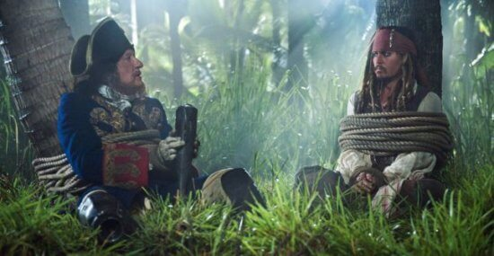 barbossa and sparrow tied up pirates of the caribbean on stranger tides