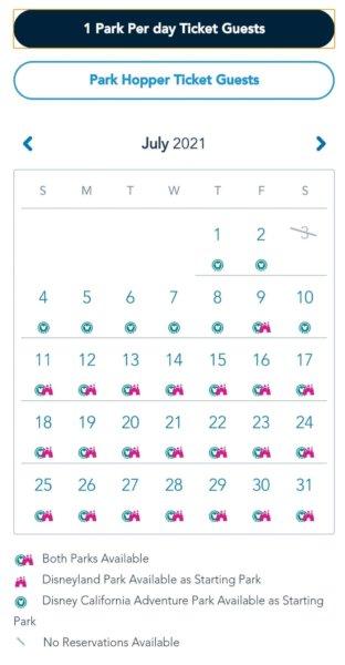 Disneyland Reservation Calendar