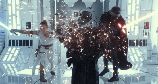 rey (left) and kylo ren (right) with lightsabers in rise of skywalker