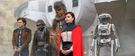 solo a star wars story cast (l-r) alden ehrenrich as han solo, donald glover as lando calrissian, joonas suotamo as chewbacca, emilia clarke as qi'ra, and droid l3-37