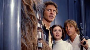 star wars a new hope (l-r han solo, leia organa, luke skywalker)