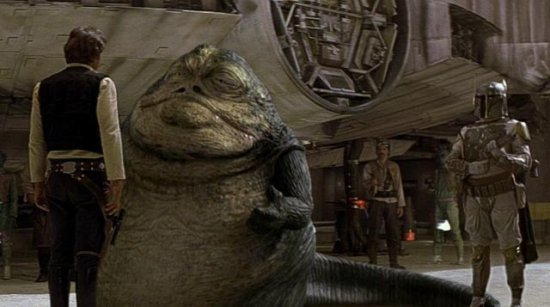 star wars a new hope special edition (l-r) han solo, jabba the hutt, and boba fett
