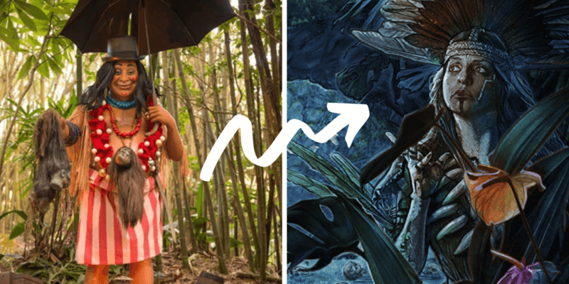 Trader Sam in the theme parks and in the jungle cruise movie