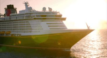 Disney cruise line ship at sunset