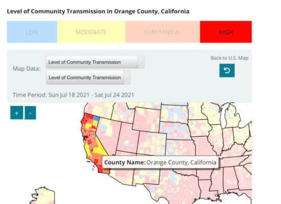 Covid-19 transmission rate in Orange County California