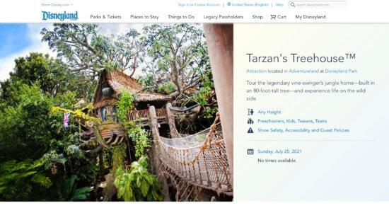 Tarzans treehouse closure at disneyland