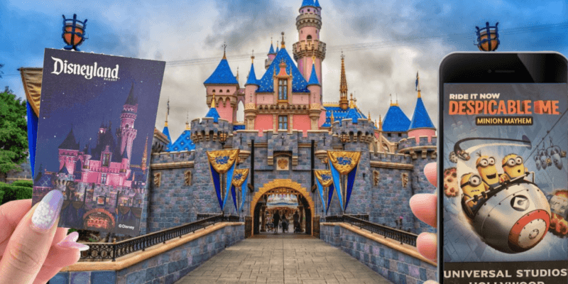 Disneyland and universal theme park tickets with the disneyland castle in the background